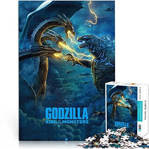 Puzzle 1000 Piezas Godzilla King of Monsters Movie Poster Challenge Rompecabezas Monstruo Gigante Rompecabezas de Madera 50x75cm Juego de Rompecabezas difícil para Adultos y niños