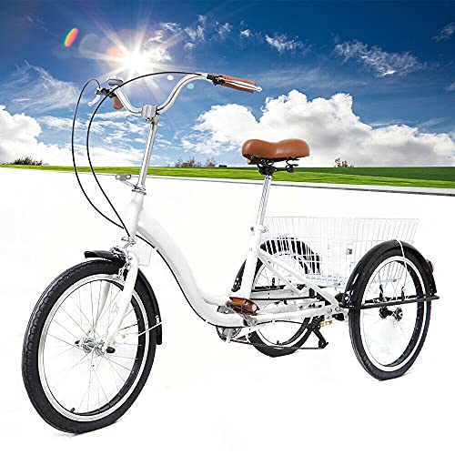Triciclo para adultos de 20 pulgadas, 3 ruedas, velocidad crucero, con cesta, blanco, para adultos, mayores, compras, triciclo