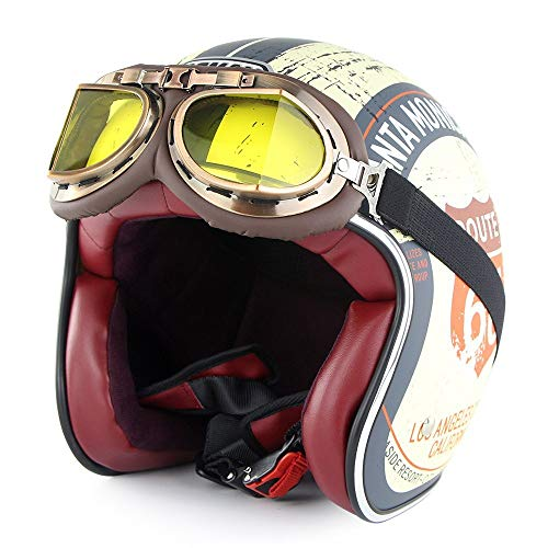 GXYS Casco Jet Moto 3/4 Mezzo Casco Casco retrò Harley con Occhiali Certificato DOT Cruiser Chopper Skateboard Ciclomotore Casco Jet Pilota Casco Aperto Adulto Casco Anticollisione,D-XXL=(63~64cm)