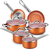 Nonstick Cookware Set, CUSINAID 10-Piece Aluminum Cookware Sets Pots and Pans Set, Fry Pan, Sauce...
