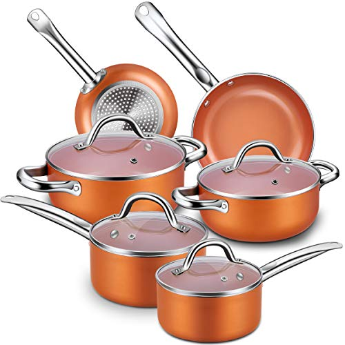 Nonstick Cookware Set, CUSINAID 10-Piece Aluminum Cookware Sets Pots and Pans Set, Fry Pan, Sauce Pan, Stock Pot with Glass Lids for Stovetops Induction Cooktops, Dishwasher Oven Safe(Copper)