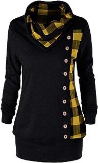ReooLy Fashion Women Turn-Down Collar Button Plaid Patchwork Sweatshirt Top Blouse