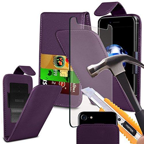 i-Tronixs Wileyfox Pro Hülle Tasche mit Carbon-Effekt, mit verstellbarer Clamp Flip Case Cover Hülle mit Kredit-/Wileyfox-Hülle mit Bildschirmschutzfolie aus gehärtetem Glas,