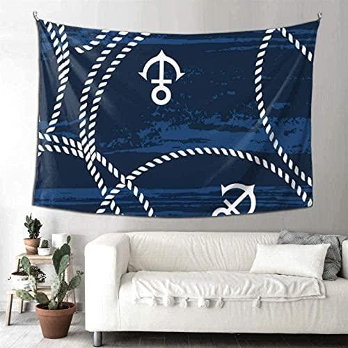 Tapiz Decorativo náutico mar Cuerdas y Anclas Azul niños Vida decoración Cortinas Toalla Estera de Yoga Alfombra 150 * 200 cm