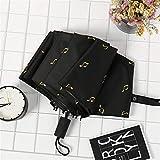 Qualité créative Note Musicale Parapluie Pliant Sunny Rainy Parapluie for Les Femmes Coupe-Vent Parapluies Parapluie Coupe-Vent (Couleur : Black)