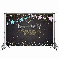 lovedomi 5x3ft 男の子または女の子のきらめき小さな星の写真の背景ピンクとブルーの星のベビーシャワーの写真ブースファミリーパーティーの誕生日の背景ベビーシャワーの装飾ビニール素材