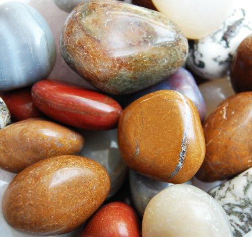 Edelsteine, polierte Trommelsteine XXL, bunte Mischung, Größe ca. 3 - 4,5 cm, 1 kg-Beutel