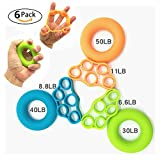MeetRade, set di 6 elastici e anelli rinforzanti per le dita, per allenare la mano e alleviare il dolore al polso, 6PCS