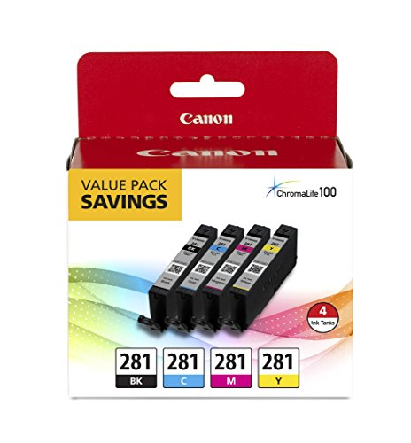 Canon CLI-281 Black, Cyan, Magenta and Yellow 4 Ink Pack, Compatible to IB4120, MB5420, MB5120, IB4020, MB5020, MB5320