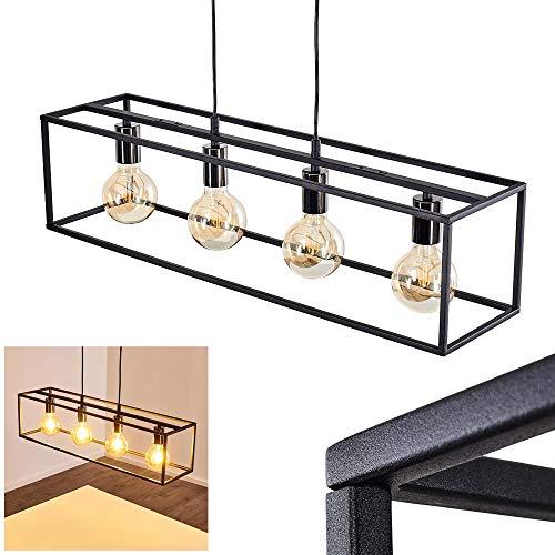 Lámpara colgante Flambeau, de metal en negro, 4 x E27 máx. 60 vatios, altura máx. 100 cm, en diseño retro/vintage, adecuada para bombillas LED, ideal para comedor