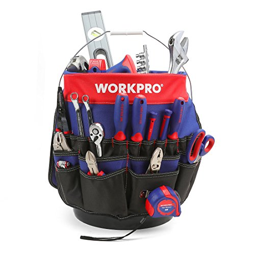 WORKPRO Bucket Tool Organizer with 51 Pockets Fits to 3.5-5 Gallon...