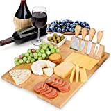 Esup Bamboo Cheese Board Set Cheese Plate (Upgrade Type 16' x 13') With 4 Specialist Cheese Knives Set and Ceramic Dish, Perfect Mother's Day Gift Thanksgiving Gifts