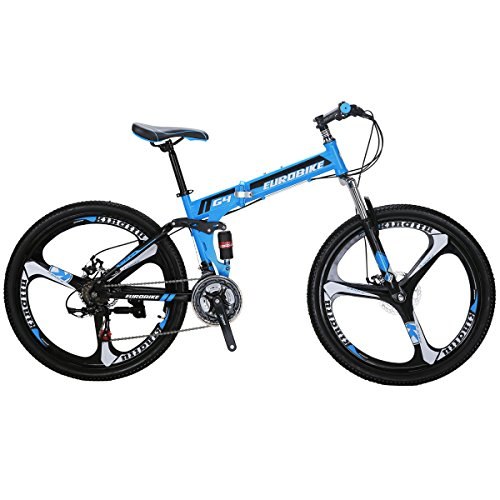 SL-G4 Mountain Bike 26 inch bike 3-Spoke bike dual suspension bike folding mtb blue bike