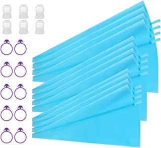Kootek 28 Pieces Cake Decorating Tools with 12 Pack 3 Sizes (12''+14''+16'') Reusable Silicone Icing Pastry Bags, 6 Standard Couplers and 10 Piping Bag Ties Baking Supplies for Cupcake Cookies (Blue)