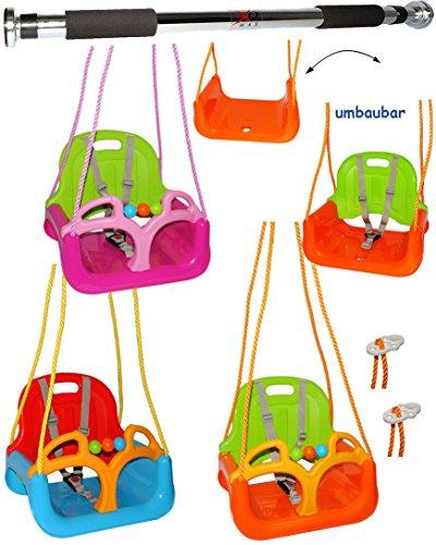 alles-meine.de GmbH 2 TLG. Set _ Türreck + mitwachsende - Gitterschaukel / Babyschaukel mit Gurt -  ORANGE / GRÜN / GELB  - Leichter Einstieg ! - verstellbar & mitwachsend - be..