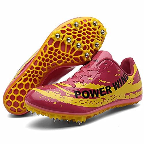 Calzado de Atletismo - Calzado de Carreras de Atletismo de Velocidad atlética con 8 Zapatos de Atletismo Ligeros de Salto con Clavos extraíbles