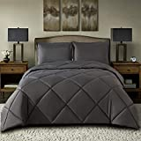 TOPLUXE King Size Comforter Set 3-Piece Bedding Sets King with 2 Pillow Shams - 1800 Series Hypoallergenic Microfiber - Down Alternative Comforter- Duvet Insert or Stand-Alone Comforter (King, Grey)