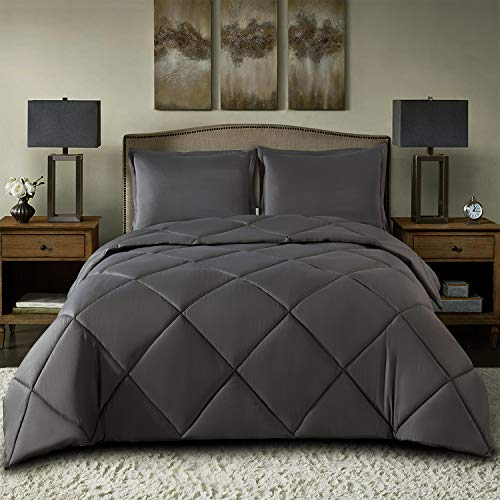TOPLUXE Queen Bedding Comforter Set 1800 Series 100% Hypoallergenic Microfiber - All Season Down Grey Alternative Comforter with 2 Pillow Shams - Duvet Insert or Stand-Alone Comforter (Queen, Grey)