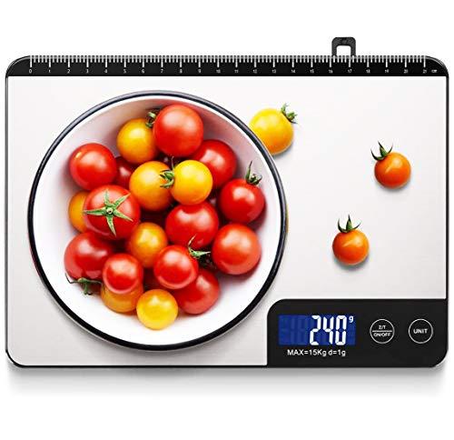 Bilancia Cucina Digitale, HOMEVER 15kg Bilancia Cucina con 6 Measuring Units, Schermo LCD, Funzione Tara, Design in Acciaio Inossidabile, Argento