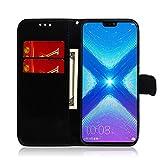 LARPOTE Coque Compatible Huawei Honor 8X Housse en Cuir Portefeuille Livre Flip Etui...