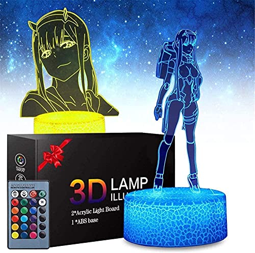 GEZHF Haikyuu Kozume Kenma Lámpara de mesa 3D ilusión 16 colores cambiantes luz nocturna con control remoto regalo de cumpleaños para niños cero dos anime