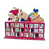 Cuenta atrás Calendario de Adviento de Madera Pintado Calendario Elk árbol de Navidad Calendario de Almacenamiento Caja de Regalo de los Ornamentos de Navidad (Color : White)