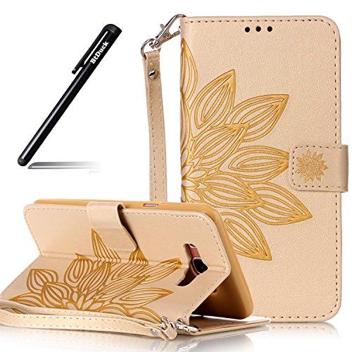 Hülle Leder für Samsung Galaxy J7 2016,Handyhülle für Galaxy J7 2016,BtDuck PU Leder Wallet Tasche Brieftasche Ledertasche Schutzhülle Galaxy J7 2016 Handyhülle Cover Lederhülle Brieftasche - Gold