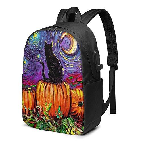 17 pulgadas mochila portátil cargador USB bolsa de libros noche estrellada gato negro calabaza daypack durable mujeres niño etiqueta tarjeta bolsa