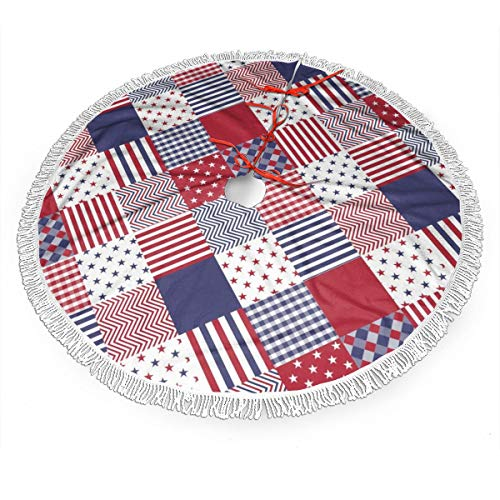 GOWINEU 48 in Usa Americana Diagonal Red White Blue Quilt,Tassel Christmas Tree Skirt,For Holiday Party Decorations