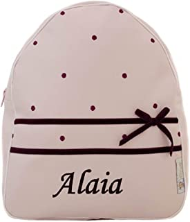 Mochila o Bolsa Infantil Personalizada con Nombre en ecopiel. Modelo Alaia. (Rosa/Granate)