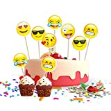 MOOKLIN ROAM Birthday Cake Topper Set Emoji 72 Stücke Cupcake Topper Mini Cupcake Toppers...
