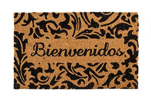 Arce - Felpudo de Fibra de Coco de 40x60 cm y Espesor 1,5 cm Antideslizante |Diseño Welcome