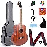 38 inch Acoustic Guitar Mahogany Travel Guitarra With Nylon String & Beginners Kit (Gig Bag Tuner Strap Picks Strings Pickguard Guitar Capo String Winder)