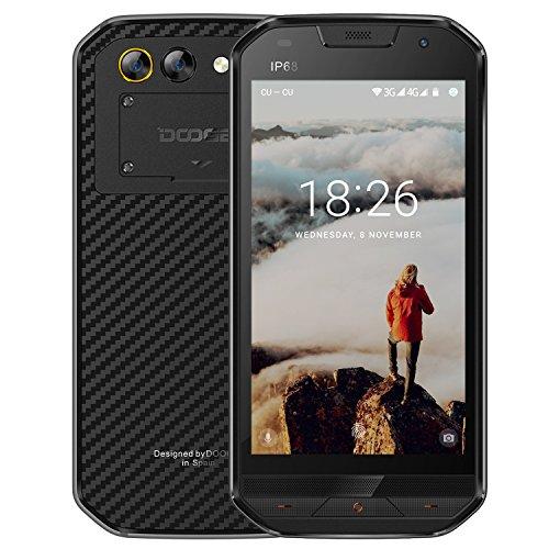 """DOOGEE S30 IP68 Smartphone libre - 4G Android 7.0 Rugged Teléfonos libres, 5.0 """"HD, MTK6737V 4X Cortex-A53, 2GB RAM + 16GB ROM, Huella Dactilar, Fibra de Kevlar, Cámara Dual de 8.0MP, 5580mAh (Negro)"""