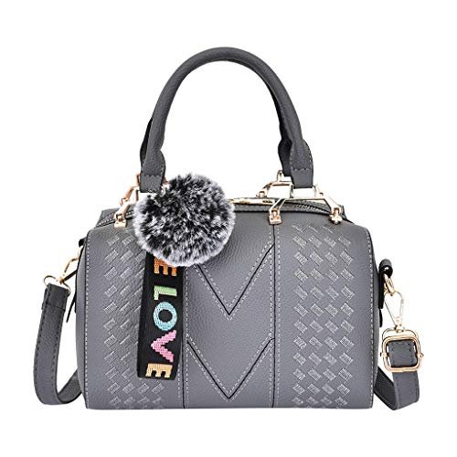 Womens Embroidered Handbag, Ladies Leather Messenger Shoulder Bag Shopping Work Satchels Phone Cosmetic Top-Handle Bags (Gray)
