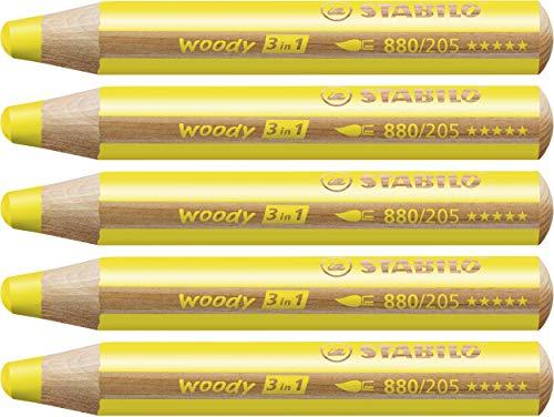 Buntstift, Wasserfarbe & Wachsmalkreide - STABILO woody 3 in 1 - 5er Pack - gelb