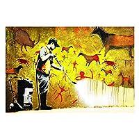 """抽象図バンクシー洞窟壁落書きキャンバスプリントポスターとプリント壁アート写真リビングルームの家の装飾27.5""""x39.4""""(70x100cm)フレームレス"""