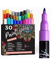 Verfstiften voor rotsschilderijen, steen, keramiek, glas, hout. Acryl Paint Markers Extra-fijne punt 0,7mm...