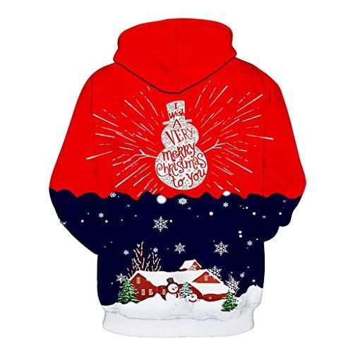 DNOQN Herren New Weihnachten Style Paares Weihnachten 3D Gedruckt Langarm Hut Bluse Rot XL