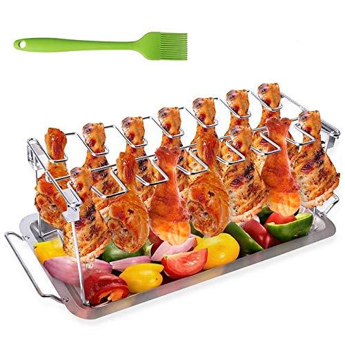 PQZATX Grill, Edelstahlgrill mit Tropfschale, mit SilikonbüRste, Kann Bis zu 14 H?Hnchenschenkel und FlüGel Aufh?Ngen