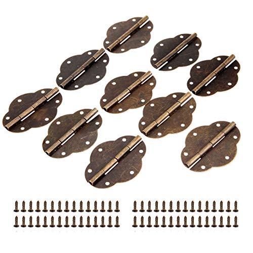 Bowarepro 10 bisagras de mariposa vintage con 6 agujeros con 60 tornillos para caja de madera vintage, caja de herramientas, armario de bronce antiguo, hierro 56 x 42 mm