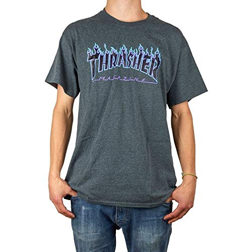 THRASHER Camiseta Hombre Magazine Flame Logo - Dark Heather