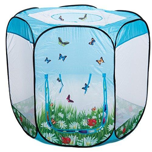 aussergewoehnlich® Schmetterlinge 6-eck Bällebad pop up Zelt mit 100 bunten Bällen in 10 Farben - Kinderspielzeug