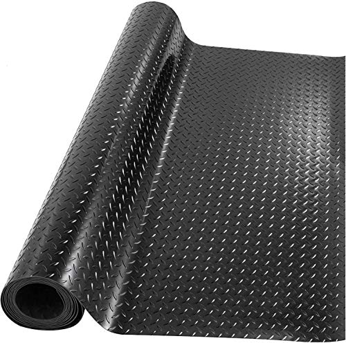 Nisorpa Garage Flooring Matting Rubber Gym Mat Heavy Duty Rubber Floor Mat Large Non Slip Waterproof Rubber Roll Mat with Diamond Structure for Indoor and Outdoor,5m x 1m,Black