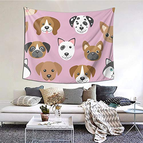 Hangyin Dog Muzzles On Pink Tapestry Wall Tapestry Home Decor for Bedroom Living Room College Dorm