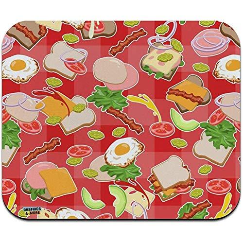 rommelig sandwich patroon brood kaas bacon sla ei voedsel laag profiel dunne muis pad muismat