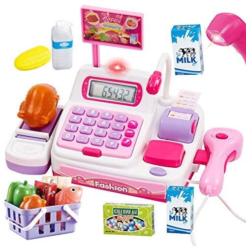 Buyger 34 Pezzi Registratore di Cassa Elettronico Supermercato Giocattolo con Scanner Calcolatrice e Microfono per Bambini con Luci e Suoni (Rosa)
