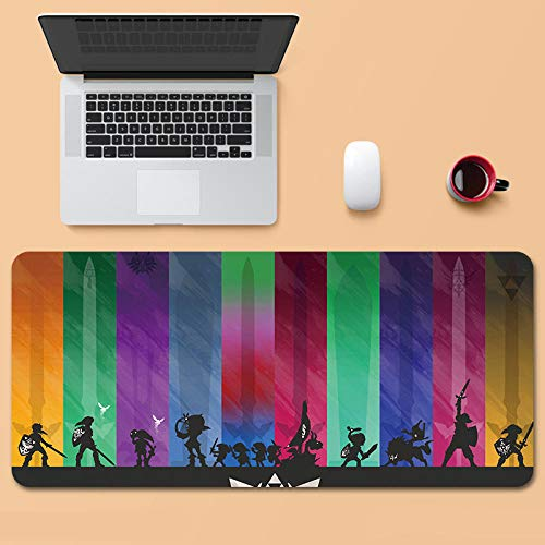 Tonjaberg Stitched Edge Mouse pad/The Legend of Zelda-Anime Mouse pad/XL XXL Gaming Mouse pad Anti-Slip/Anti-Dirty/Office Mouse pad-31.4 inches × 11.8 inches (800 mm 300 mm)