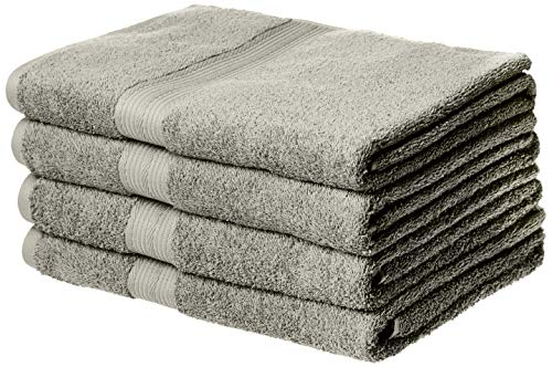 AmazonBasics Fade-Resistant Cotton Bath Towel - Pack of 4, Grey