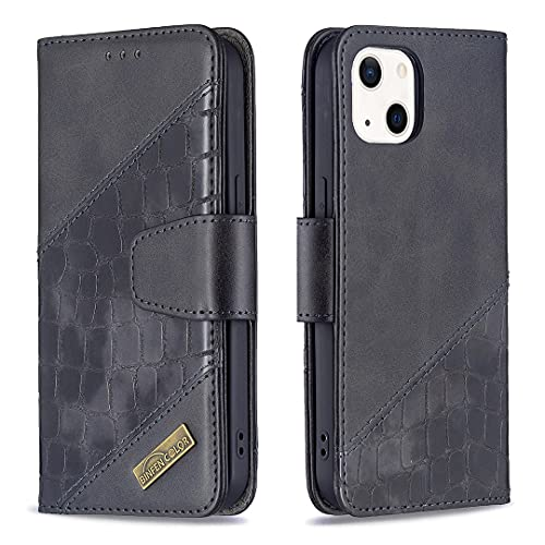DIMDIM Caso compatible con el iPhone 13 Mini,la cartera de cuero de piel de imitación de la costura premium con pienstero,folio de doble color dual TPU Caso de la cubierta del teléfono for el iPhone M